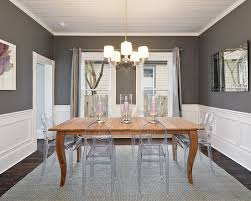 chair rail dining room. Simple Dining Grey Dining Room With White Moulding Rustic Table Modern Clear Chairs Inside Chair Rail Dining Room G