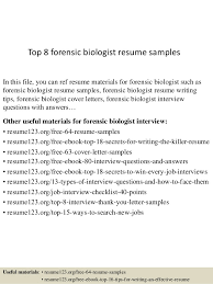 Top 8 forensic biologist resume samples In this file, you can ref resume  materials for ...
