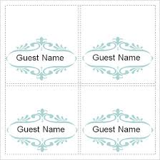 Place Cards Template For Word Free 6 Place Card Templates In Word Pdf