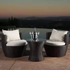 kyoto outdoor patio furniture brown wicker 3 piece set w cushions
