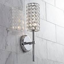 chrome bathroom sconces. Crystal Cylinder 16\ Chrome Bathroom Sconces