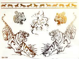 Metalické Nalepovací Tetování L Bh 109 Tygři