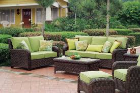 amazing backyard with wicker menards outdoor furniture set with lime green cushioned plus rectangular glass top coffee table