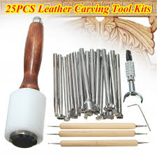 25x hammer embossing manual leather craft carving stamp stamping beveler tools diy kit set com
