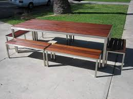 los angeles ca custom made stainless steel outdoor table with ipe regarding stainless steel garden furniture