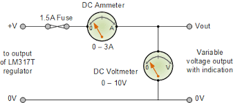 variable voltage power supply using the lm317t voltmeter and ammeter addition