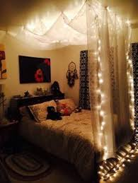 diy room lighting. DIY Bed Canopy With Lights | Hanging - Using $5 Sheer White Curtains Diy Room Lighting