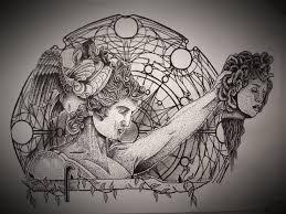персей держащий в руках голову горгоны медузы Sketch Tattoo в