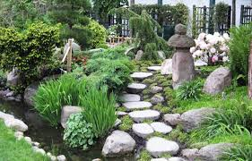 ... Japanese garden with water fountain