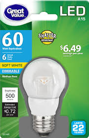 Walmart Great Value Led Light Bulbs Great Value Led Light Bulb 6w 60w Equivalent A15 Lamp