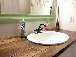 wood bathroom vanity. I Needed A Cheap Solution For The Vanity Top In Our Bathroom, And Wood Seemed Bathroom