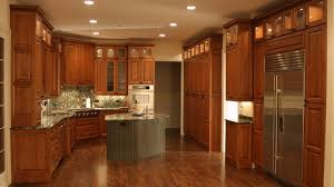 cherry clear alder kitchen cabinets island wooden simple classy glossy wooden stained varnished new furnitures