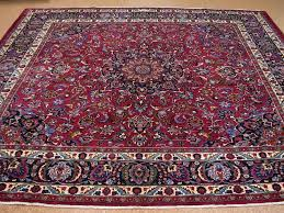 10 x persian mashad hand knotted wool red blue square oriental for red rug designs 15