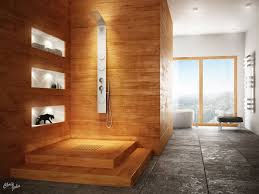 interior glamorous wooden bathroom interior decor with modern chrome faucet shower also built in wall