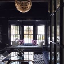 a dramatic den with a very polished vibe