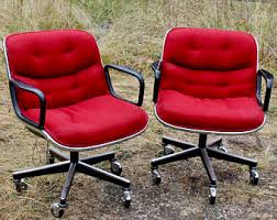 office chair vintage. Red Knoll Charles Pollock Chairs Vintage Executive Office Mid Century Modern Home Decor Rolling Chair Library L