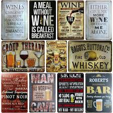 [SQ DGLZ]WINE/Whiskey <b>Metal Sign Bar Wall</b> Decor Vintage Metal ...