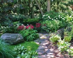 Small Picture shade gardens with floering vine ideas Shade garden with stone