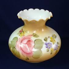 hand painted roses ruffled glass light lamp shade 6 75 inch fitter