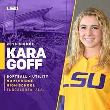 """LSU Softball on Twitter: """"Please welcome Kara Goff of Tuscaloosa, AL to the  LSU Softball family. She is currently a B'Ham Thunderbolt & formerly a  Marucci Patriot.… https://t.co/jkPrzCXXke"""""""