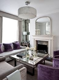 mirrored coffee table. Art Deco Living Room With Splashes Of Purple And Mirrored Coffee Table [Design: Gemma Zimmerhansl Interior Design] E