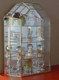 new house style glass brass curio cabinet table top display case w free