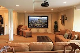 family room ideas with tv. cozy basement family room design ideas with flat screen tv and beige interior color using modern recessed lighting tv