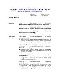 Resumes Pharmacist Resume Sample Cv Example Pharmacynician Template