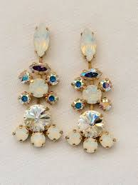 vintage style white opal swarovski crystal chandelier earrings images