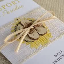 Indonesian Hibiscus Flower Passport Wedding Invitation Bali