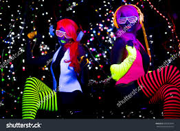 Clothes Under Black Light 2 Sexy Cyber Glow Raver Women People Beauty Fashion Stock