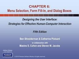 Designing The User Interface 3rd Edition Ben Shneiderman Pdf Chapter 6 Menu Selection Form Fill In And Dialog Boxes