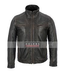 men s black rivet distressed fadded leather jacket men s