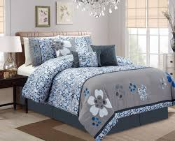 cool piece cherry blossom bluegray comforter set bedding twin xl 7 blue gray que