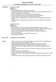 Assistant Cook Resume Samples Velvet Jobs With Resume Sample Cook