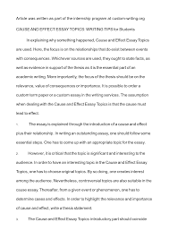 exle of cause and effect essay topics