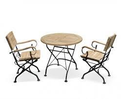 2 armchairs teak metal folding dining set