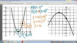 common core math writing quadratic equations given two points on a graph