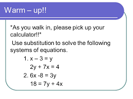 solving systems of equations by elimination 2 warm up