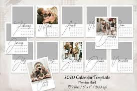 Photoshop Calendar Template 2020 2020 Calendar Template Monday Start 5x7