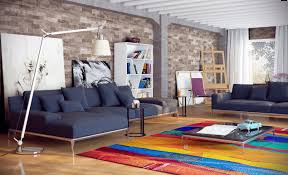the brick living room furniture. Brick Wall City Loft Contemporary Living Room With Cozy Blue Sofa And Colorful Rug The Furniture