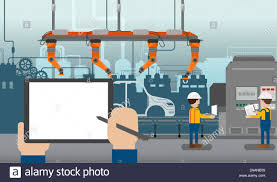 Assembly Line Design Hand Hold Empty Screen Tablet In Automobile Factory With