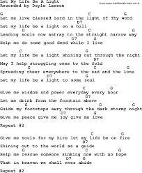 Let The Light In Lyrics Let My Life Be A Light Bluegrass Lyrics With Chords