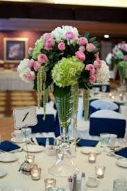 Tall Wedding Centerpieces, Green Hydrangea, Pink Garden Roses, White  Hydrangea and Hanging Green