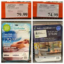 costco bed and breakfast gift cards