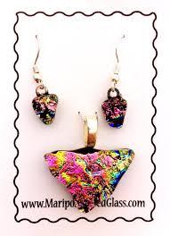 mariposa fused dichroic glass pendant earring set