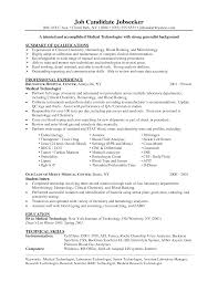 Medical Technologist Resume Sample Biomedical Technician Job