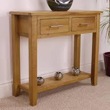 Nebraska Oak Console Table With Shelf / Solid Wood 2 Drawer Hall New  EBay