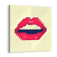 red lips made of small triangles pixels canvas wall art print rooms rose gold