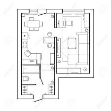 Architekturplan Mit Möbeln Haus Grundriss Küche Wohnzimmer Und Bad